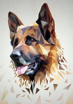 A front side view of a german shepherd in low poly art Art And Illustration, German Shepherd Tattoo, German Shepherd Dogs, German Shepherds, Shepherd Puppies, German Shepherd Wallpaper, German Shepherd Painting, German Dogs, Polygon Art