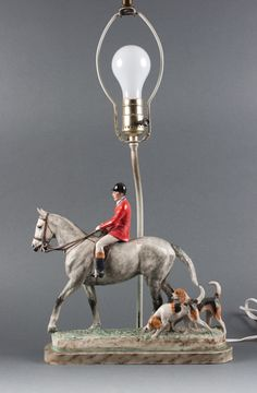 """Katherine Wheeler Crump (English, 1884-1977). """"Fox Hunting Group,"""" painted ceramic sculpture, mounted as a lamp    www.alexcooper.com"""