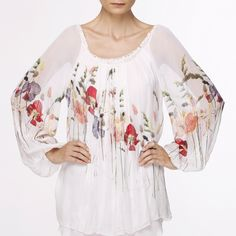 tunic with wild flower print Embroidery Fashion, Flower Prints, Floral Tops, Fashion Accessories, Bell Sleeve Top, Spring Summer, Tunic Tops, Folk Art, Michal Negrin