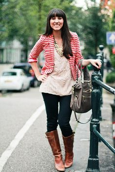 A basic blazer, shirt, jeans and boots combo gets an updated take with a mix of patterns // From Portland to Peonies.