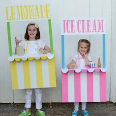 Adorable Lemonade and Icecream Stand Costumes. Easy to Make, and so unique. (credit: Instagram @lovetheday) #HalloweenCostumes #Halloween