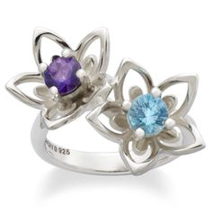 New Floral Star Flower Ring with Blue Topaz and Amethyst from James Avery Jewelry