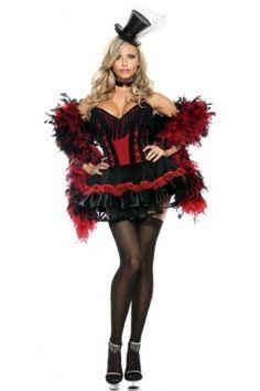 BLACK RED SPEAK EASY SALOON GIRL COSTUME