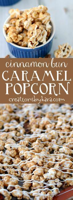 Irresistible Cinnamon Roll Caramel Popcorn recipe - no one can resist this sweet and crunchy popcorn! Cinnamon and white chocolate make this the perfect holiday caramel corn recipe.