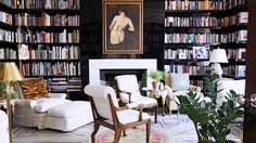 20 Gorgeous Home Libraries his striking home library by interior designer Daniel Romualdez has long been a favorite. Library Inspiration, Home Decor Inspiration, Library Ideas, Cozy Home Library, Dream Library, Beautiful Library, Library Room, Grand Library, Future Library