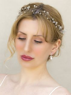 "Pearl and Crystal Bridal Hair Vine Headband ~ ""Rowan"" - Bridal Hair Accessories by Hair Comes the Bride"