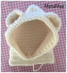 crochet bear hat, crochet hat with earbuds , Crochet Bear Hat, Crochet Hood, Knit Crochet, Knitted Hats, Brei Baby, Knitting Patterns, Waffle Stitch, Baby Kind, Tricot
