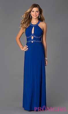 Floor Length Sleeveless Bead Embellished Dress at PromGirl.com