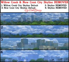 Removes all City Skyline Backdrops of Willow Creek and New Crest.
