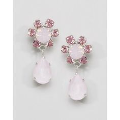 Krystal Swarovski Floral Pear Drop Earrings ($49) ❤ liked on Polyvore featuring jewelry, earrings, pink, pink earrings, pink drop earrings, swarovski crystal jewelry, pear drop earrings and floral jewelry