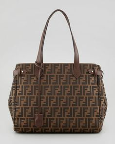 Zucca Side-Tab Shopping Tote Bag, Brown  by Fendi at Neiman Marcus.