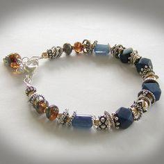 Lapis Lazuli Bracelet, Royal Blue Lapis Jewelry, 14k Gold Filled, Sterling Silver, Kyanite. $90.00, via Etsy.
