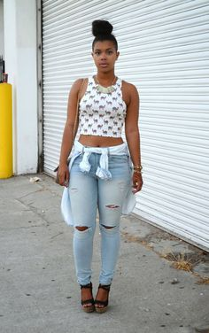 """Make a casual jeans look stand out with quirky-cute animal graphics. She Recycles Fashion blogger Carmen gets in on the trend with a camel-covered crop top.  MORE: The """"New"""" Animal Print—And 7 Foxy Ways To Wear It   - Seventeen.com"""