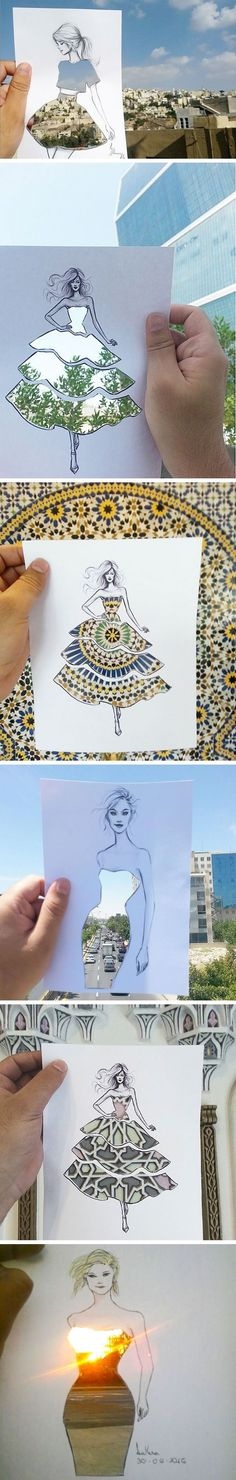 This Fashion Illustrator Completes His Cut-Out Dresses With Clouds And Buildings. Absolutely love this idea! Could even just use the same template over and over Fashion Drawings, Fashion Illustrations, Fashion Artwork, Illustration Fashion, Art Plastique, Cool Drawings, Oeuvre D'art, Amazing Art, Awesome
