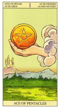Ace of Pentacles - Tarot of The New Vision (Gianluca Cestaro & Pietro Alligo) Rider Waite Tarot Cards, Tarot Significado, Ace Of Pentacles, All Tarot Cards, Coaching, Online Tarot, Tarot Card Meanings, Oracle Cards, Freundlich