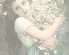 April 2014 - Gathering flowers, by Jules-Cyrille Cave Potrait Painting, Pre Raphaelite, Bridal Flowers, Queen, Beautiful Artwork, Garden Art, Art Photography, Illustration Art, Illustrations