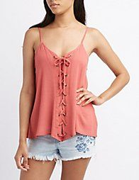 RedGauze Lace-Up Tank Top