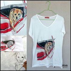 Handpainted dog illustration t-shirt