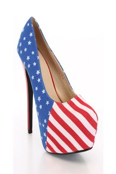 Blue Stars Stripes Platform Pump Heels Heel Shoes online store sales:Stiletto Heel Shoes,High Heel Pumps,Womens High Heel Shoes,Prom Shoes,Summer Shoes ...
