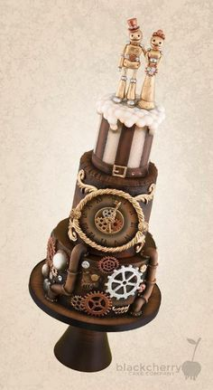 Master couture techniques for cake designs that inspire. Fancy Cakes, Cute Cakes, Beautiful Cakes, Amazing Cakes, Steampunk Wedding Cake, Chocolates, Zelda Cake, Gothic Cake, Robot Cake