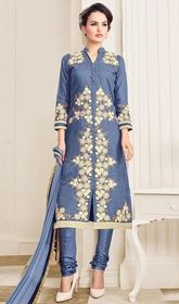 Cornflower Blue Color Shaded Chanderi Cotton Churidar Suit.  #churidarforsaleonline #churidarsuit Amaze your onlookers draping this cornflower blue color shaded chanderi cotton churidar suit. You are able to see some intriguing patterns performed with lace and resham work.  USD $ 74 (Around £ 51 & Euro 56)