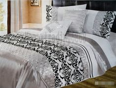 White Black Silver Flocking * 3PC KING QUILT /  DOONA COVER SET * RRP $139 NEW ! $94.81 sale