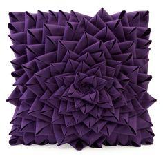 Purple Fontella Hand Sewn Felt Rose Pillow