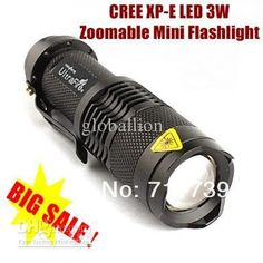 USA EU Hot Sel TK68 CREE XP-E LED Flashlight Portable Mini Flashlight Zoom flashlight Lamp For AA /14500 - Black