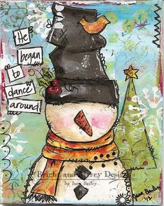 Raining Grace - Christmas cards Mixed Media Snow Man. (It links to the blog, but this cool card appears in the blogpost for November 29, 2012)