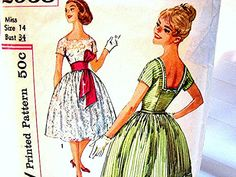 1950's Dress Pattern Simplicity Misses size 14 Rockabilly Dress Full Skirt Belted Looped Sash view on Etsy by PatternsFromThePast