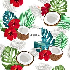 Seamless pattern coconut piece and palm leaves with red hibiscus, Vector illustration Fruit Pattern, Pattern Art, Pattern Design, Food Patterns, Print Patterns, Royal Clan, Flower Wallpaper, Textile Prints, Box Design