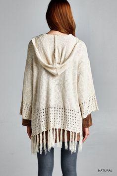 Hooded Knit Cardigan - Natural