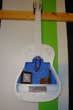Upcycled Acoustic Guitar Shelf One of a by ThisNThatHodgePodge, $160.00