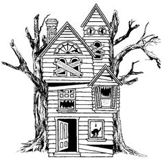 Haunted house, rubber stamp x 3 Spooky House, Halloween Haunted Houses, Halloween House, Halloween Doodle, Halloween Cartoons, Haunted House Drawing, Haunted House Tattoo, House Doodle, Spooky Tattoos