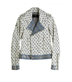 Block Printed Leather Moto Jacket