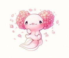 smiles and tears, Cherry blossom axolotl! Cute Kawaii Animals, Cute Animal Drawings Kawaii, Cute Drawings, Pretty Art, Cute Art, Axolotl Cute, Art Kawaii, Art Mignon, Creature Drawings