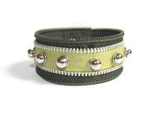 $17.21 Green Zipper Cuff Bracelet Green Rocker Bracelet by gicreazioni