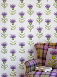 Tartan Chair  Thistle Wallpaper from VOYAGE Country Collection, Glasgow, Scotland. - Wakey, Wakey!