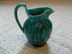 Vintage Wedgwood Etruria Barlaston Majolica Green Grapes Leaves Pitcher Creamer