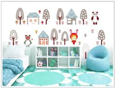 Wall Decals - YYone Little Girl with Tiger Panda Around House and Trees DIY Wall Decal Home Decor Sticker
