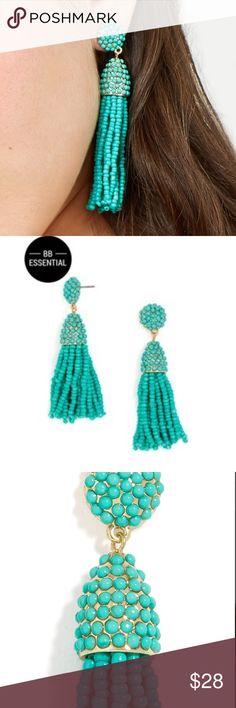 Baublebar Mini Piñata Tassel Earrings Brand new! Baublebar mini piñata tassel earrings in turquoise and gold. So cute and ALL THE RAGE this season so get them here while you can! Baublebar Jewelry Earrings