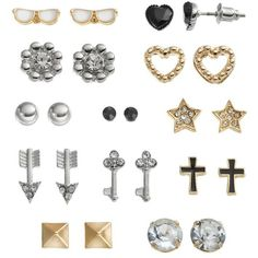 SO Star, Pyramid, Heart, Arrow, Cross, Key, Flower & Sunglasses Stud... ($7.20) ❤ liked on Polyvore featuring earrings, jewelry and accessories