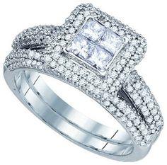 14k White Gold Princess Halo Diamond Women's Bridal Wedding Engagement Ring Set 1.25 ctw