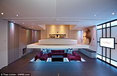Revolutionary: Simon Woodroffe's new property boasts more space than a typical one-bedroom flat but with more rooms, including a descending bedroom (pictured)
