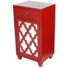 Heather Ann Red Arabesque Aria Mirrored Accent Cabinet ($100) ❤ liked on Polyvore featuring home, furniture, storage & shelves, mirrored furniture, mirrored glass furniture, red furniture, eglomise furniture and polish furniture