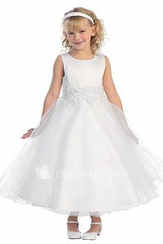 0ff907459ba Layered Tea-Length Floral Lace Flower Girl Dress