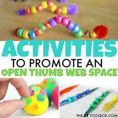 Try these activities to improve open thumb web space needed for tasks like pencil grasp, in hand manipulation, and dexterity needed in fine motor activities. Child Development Activities, Occupational Therapy Activities, Fine Motor Activities For Kids, Space Activities, Motor Skills Activities, Fine Motor Skills, Toddler Activities, Stem Learning, Learning Resources