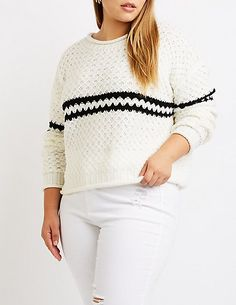 bfb817aec08 Plus Size Stripe Detailed Pullover Sweater