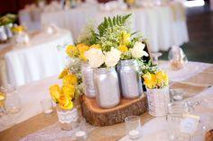 Painted Mason Jars, Gem tone Flower Centerpieces