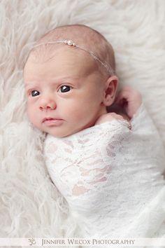Pixie Pearls Ivory Tieback - Newborn Photo Prop - newborn headband, photo prop, halo, pearl tieback, pearl headband. $10.50, via Etsy.